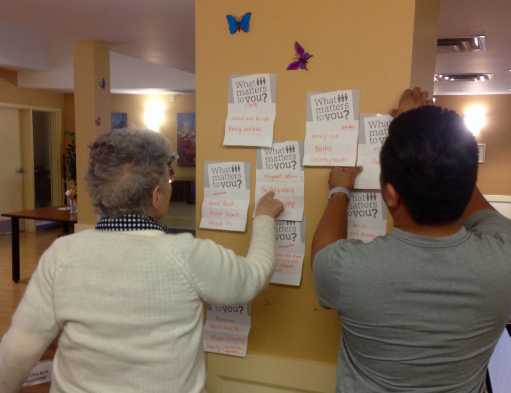 Residents from Good Samaritan Canada write down what matters to them.