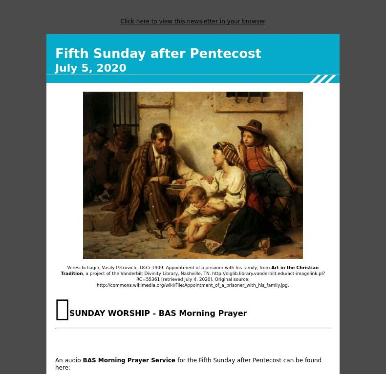 Fifth Sunday after Pentecost - July 5, 2020