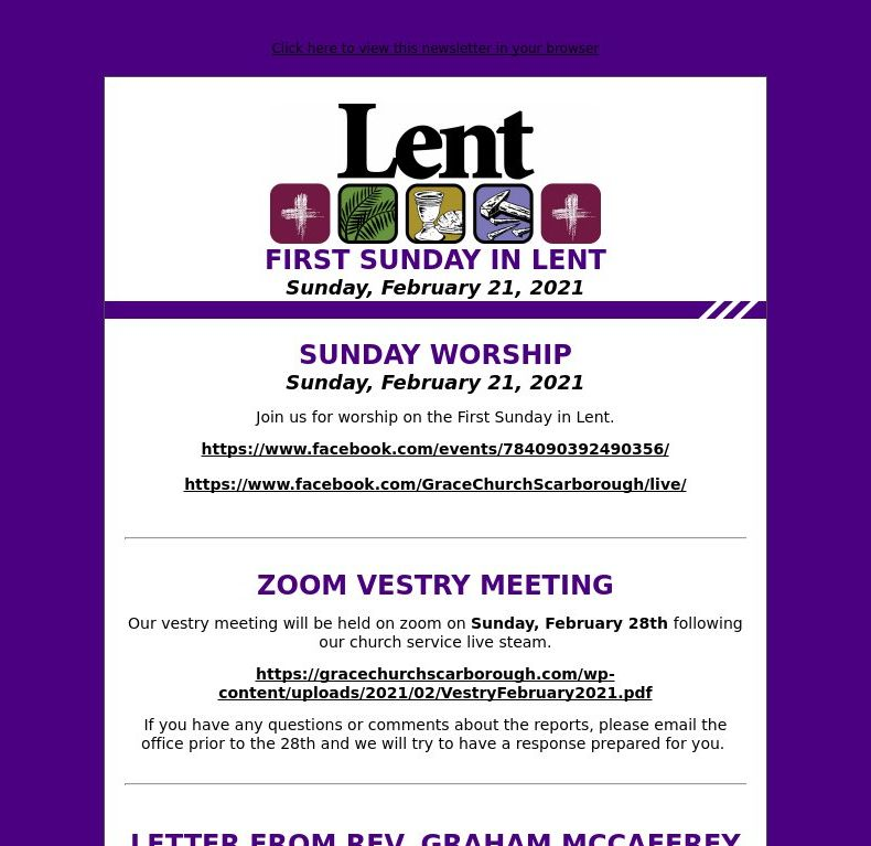 First Sunday in Lent (February 21, 2021)
