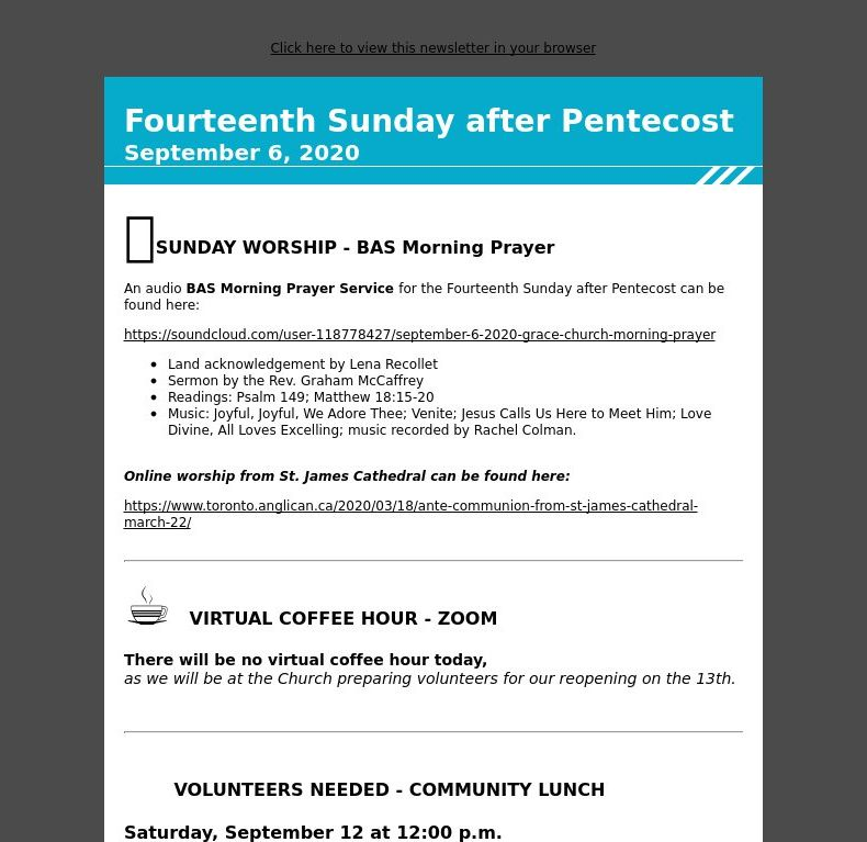Fourteenth Sunday after Pentecost - September 6, 2020