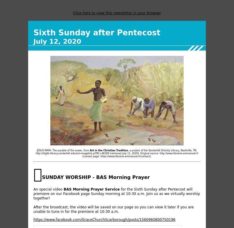 Sixth Sunday after Pentecost - July 12, 2020