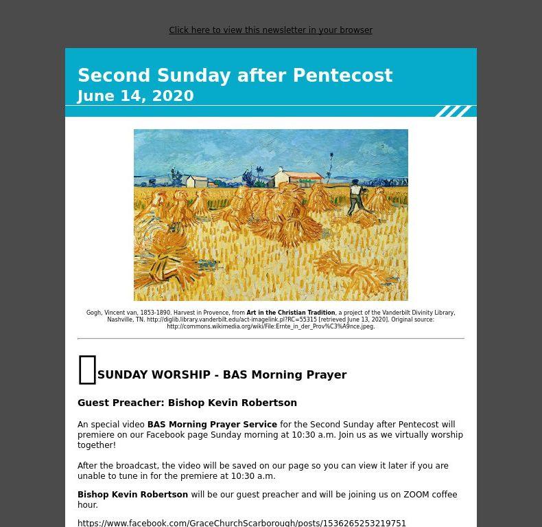 Second Sunday after Pentecost - June 14, 2020