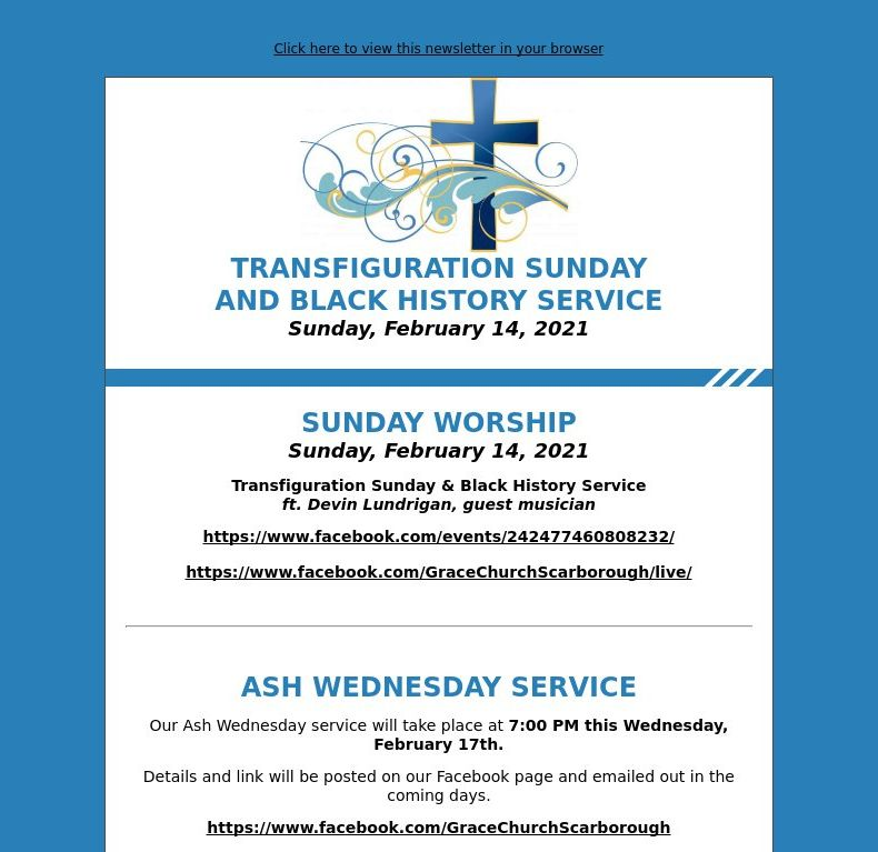 Transfiguration Sunday & Black History Service (February 14, 2021)