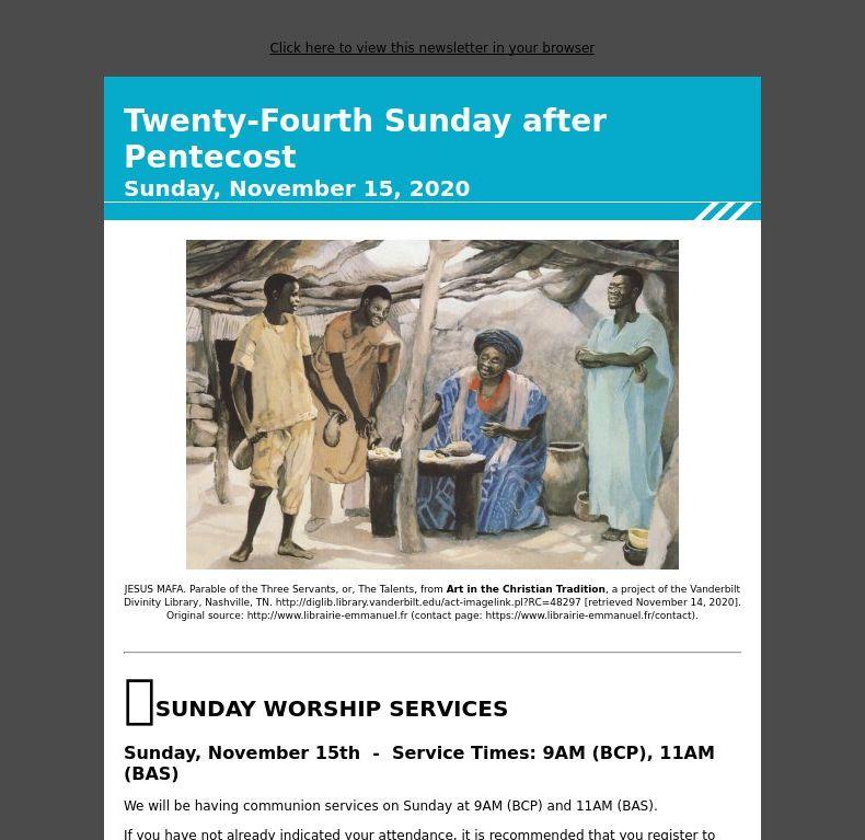 Twenty-Fourth Sunday after Pentecost - Sunday, November 15, 2020