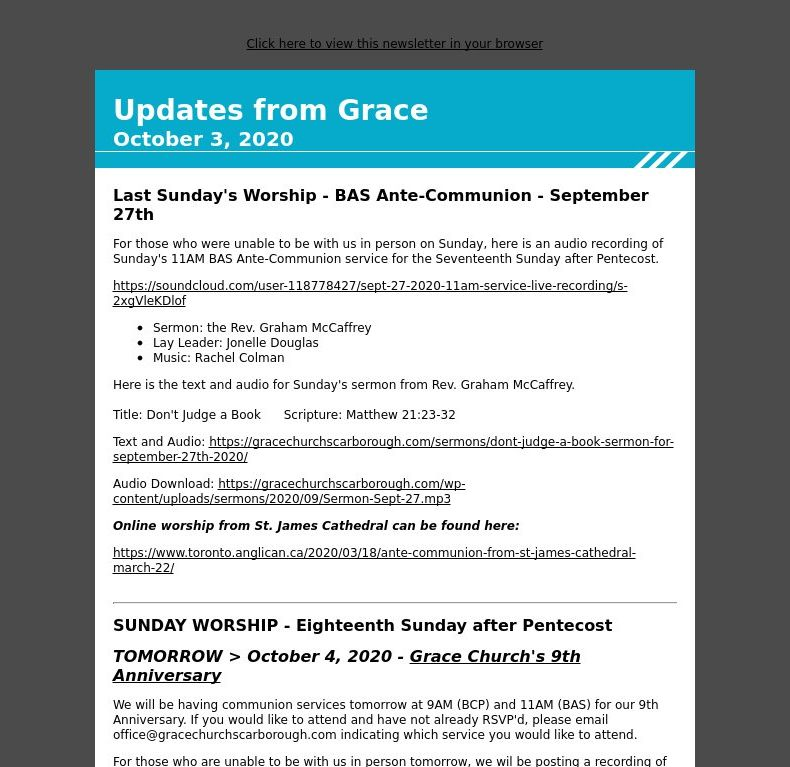 Updates from Grace - October 3, 2020