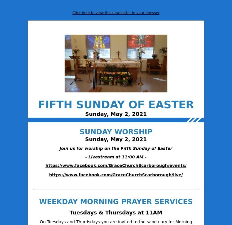 Fifth Sunday of Easter (May 2, 2021)