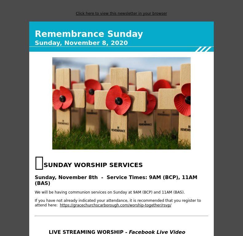 Remembrance Sunday - Sunday, November 8, 2020