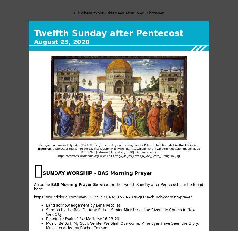 Twelfth Sunday after Pentecost - August 23, 2020