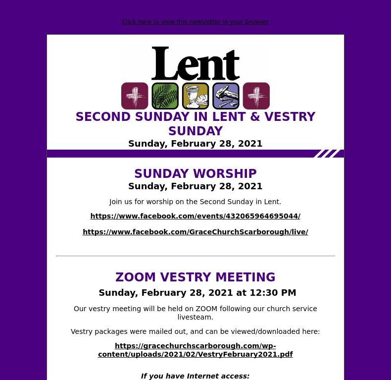 Second Sunday in Lent / Vestry Sunday - February 28