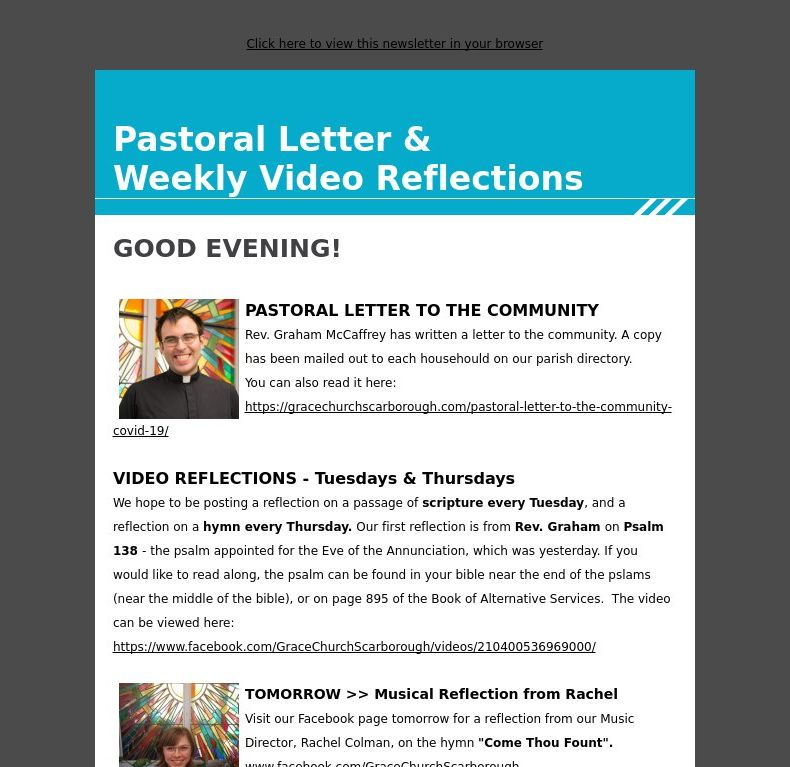 Pastoral Letter & Weekly Video Reflections