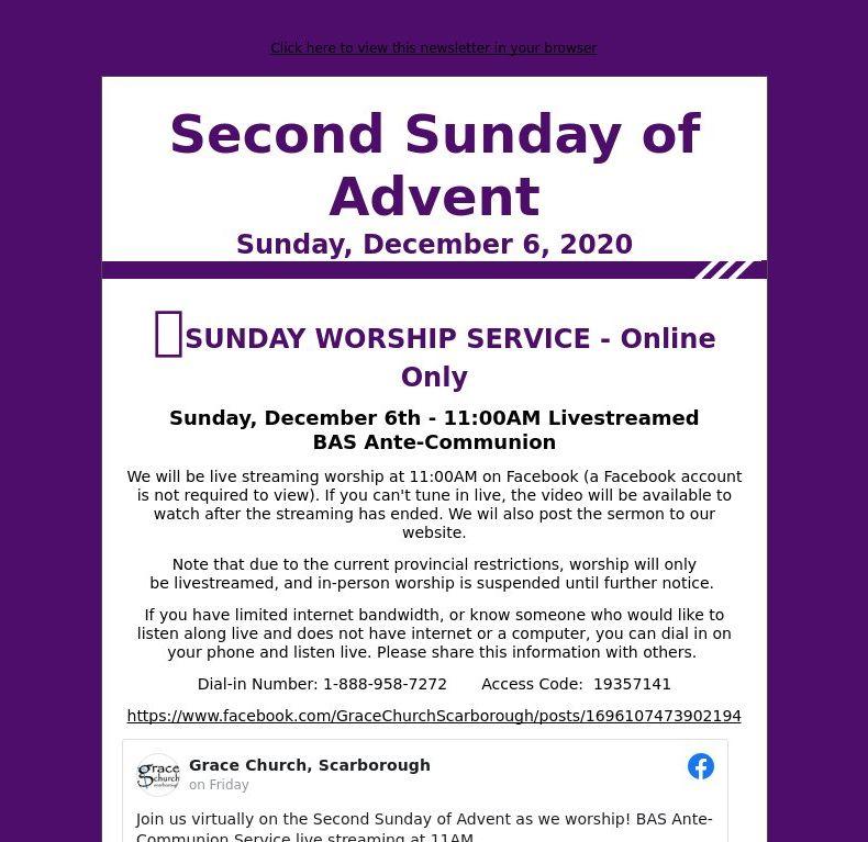 Second Sunday of Advent - Sunday, December 6, 2020