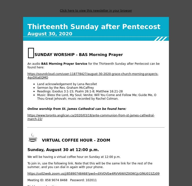 Thirteenth Sunday after Pentecost - August 30, 2020