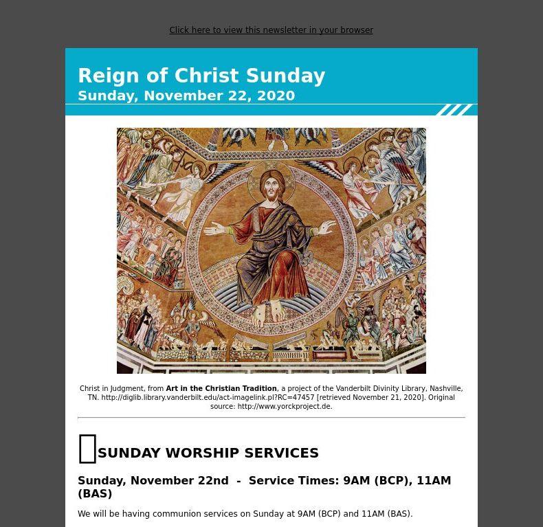 Reign of Christ Sunday - Sunday, November 22, 2020