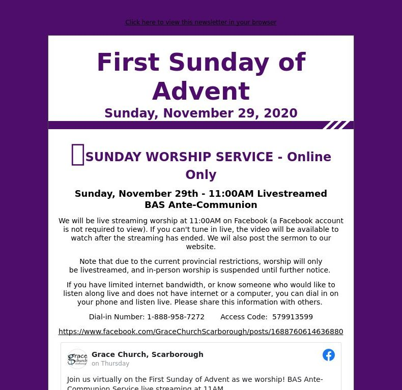 First Sunday of Advent - Sunday, November 29, 2020