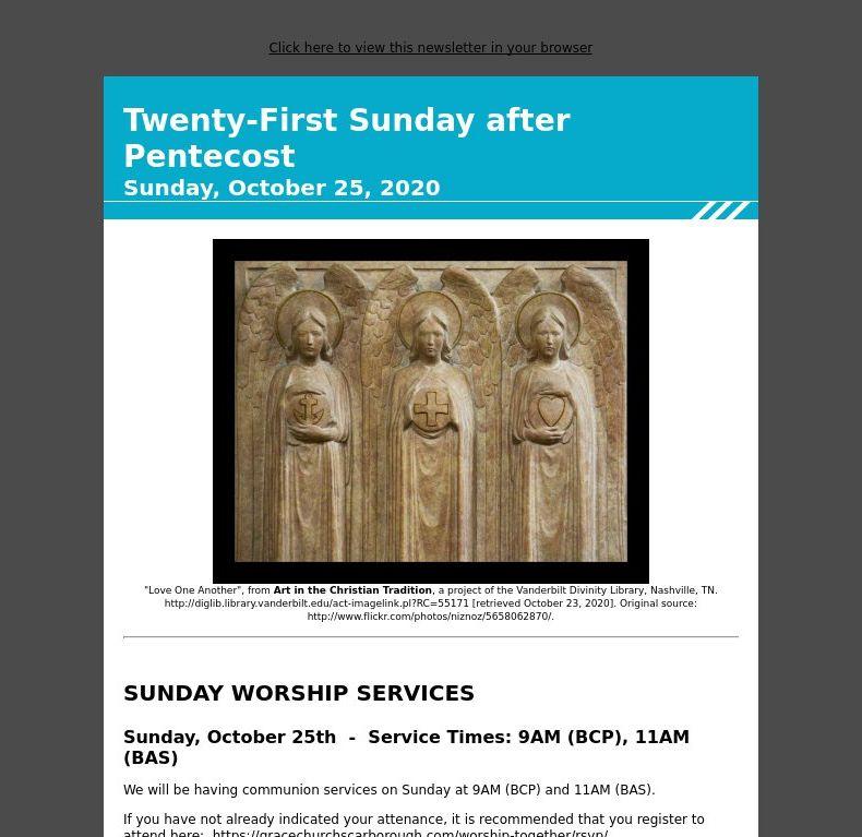 Twenty-First Sunday after Pentecost - Sunday, October 25, 2020