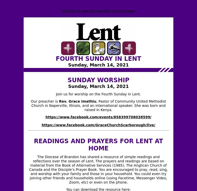 Fourth Sunday in Lent (March 14, 2021)