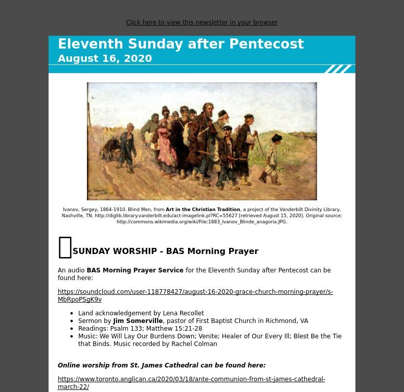 Eleventh Sunday after Pentecost - August 16, 2020