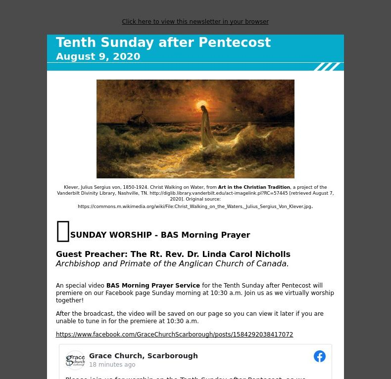 Tenth Sunday after Pentecost - August 9, 2020