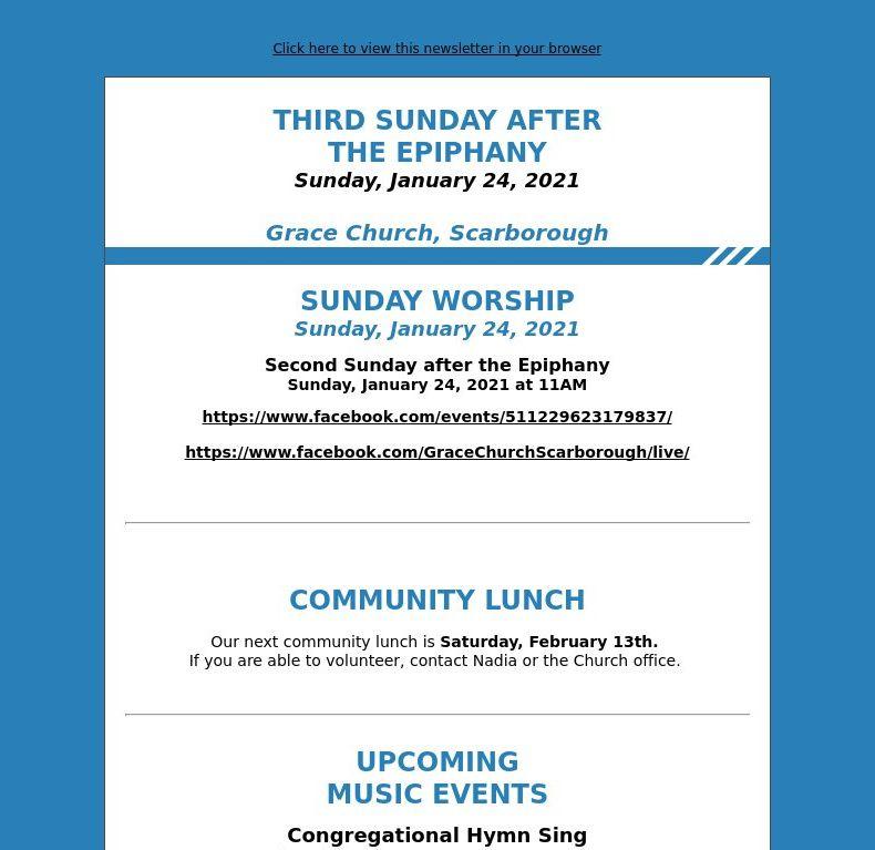Third Sunday after the Epiphany (January 24, 2021)