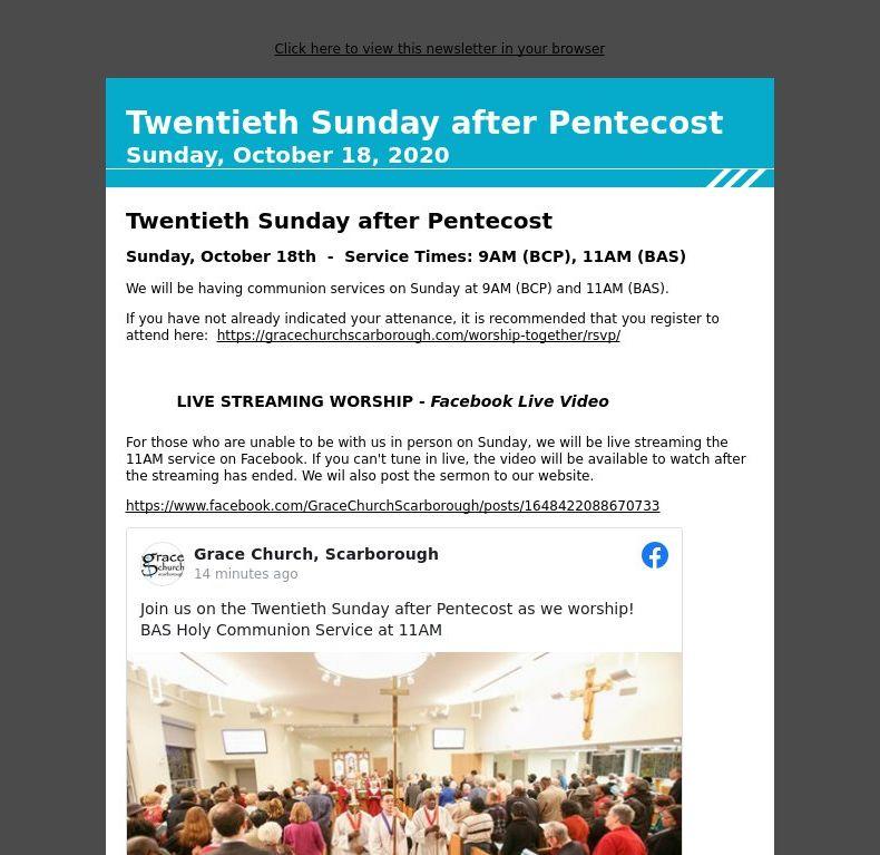Twentieth Sunday after Pentecost - Sunday, October 18, 2020