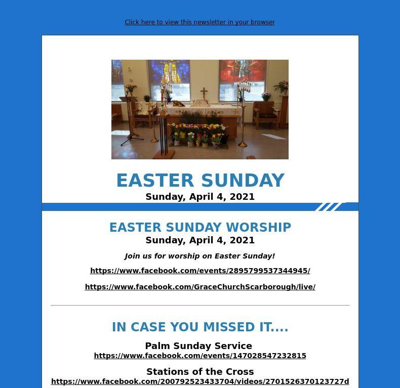 Easter Sunday (April 4, 2021)