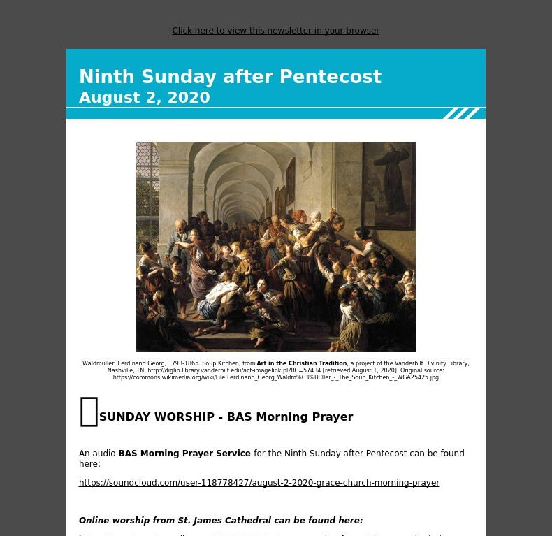 Ninth Sunday after Pentecost  - August 2, 2020