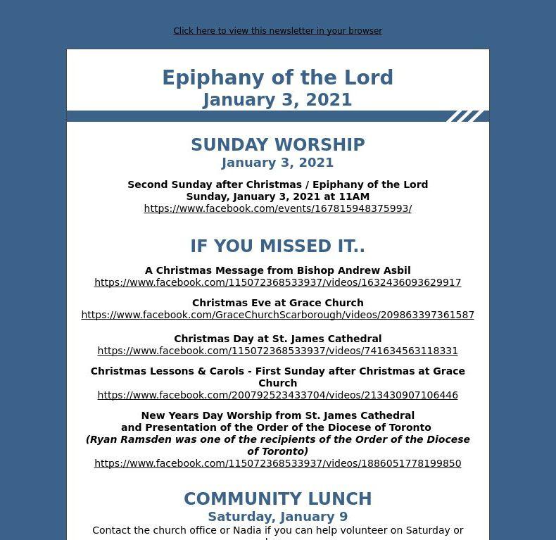 Epiphany of the Lord - Sunday, January 3, 2021