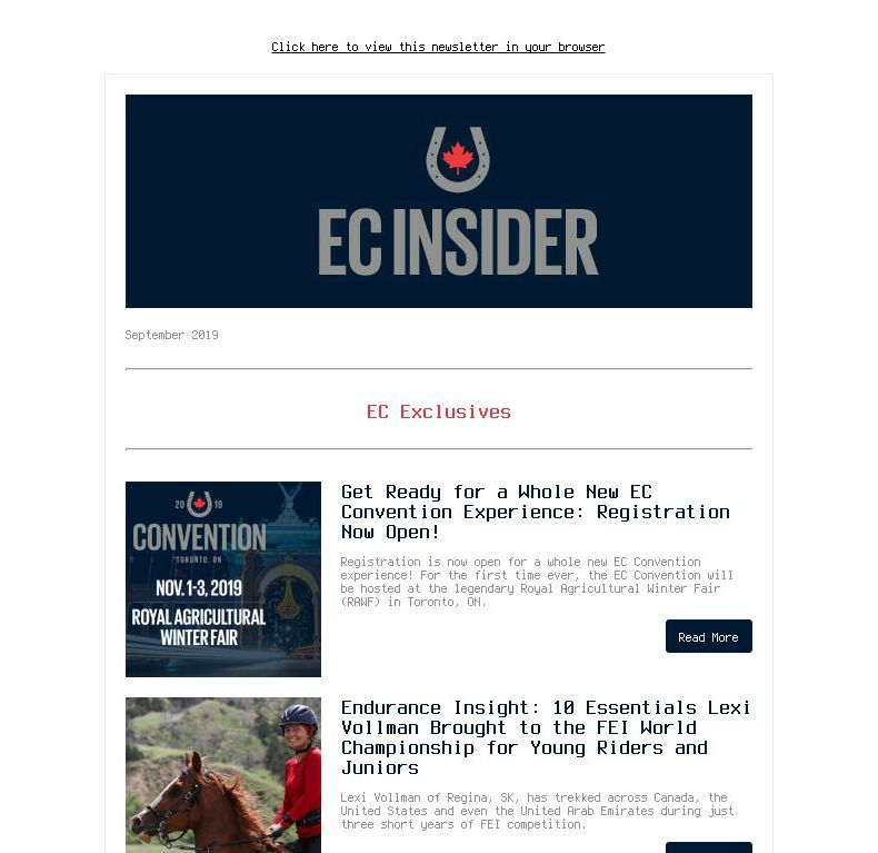 EC Insider – September 2019   EC Convention is Royal Ready, Lexi Vollman's 10 Endurance Essentials, Carina Crawford Driving Toward World Champs & Much More!